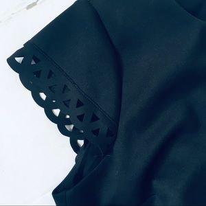 Susana Monaco Tops - Susana Monaco Black Crop Cut Out Short Sleeve Top